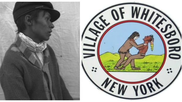 An archival image titled In profile (Cree) ~ Waskaganish, Quebec 1926 alongside the current official emblem of Whitesboro, N.Y.