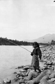 Girl fishing on the Skeena