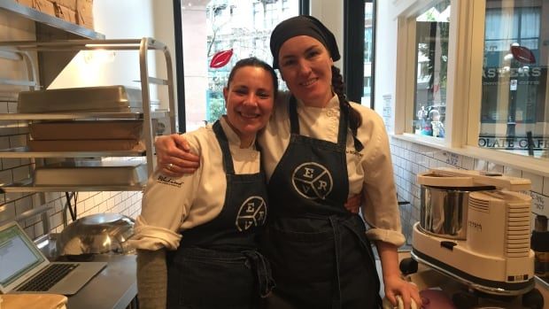 East Van Roaster's Shelley Bolton (right) and Merri Schwartz (left) stand in the chocolate lab. They helped concoct the cafe's feature hot chocolate: THE BUZZZZZ.