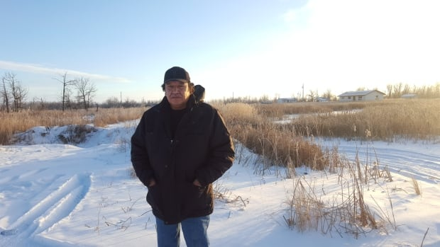 Clifford Anderson stands on the road leading to his brother's and his late mother's flooded houses.  He says the bullrushes are an indication the land is still saturated and has become a swamp.