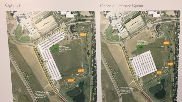 2 proposals for a temporary parking lot for Foothills hospital staff, while the new cancer centre is built.