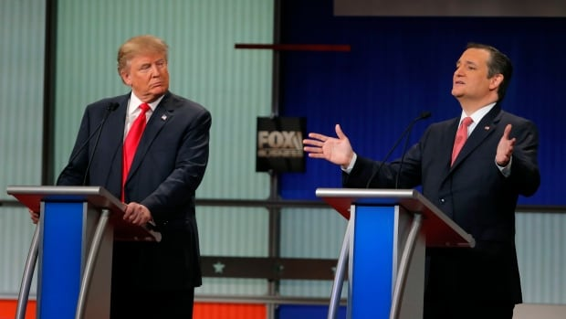 Ted Cruz, right, disparaged rival Donald Trump and his 'New York values' at the Republican U.S. presidential debate Thursday.
