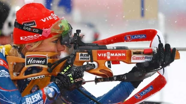 Czech Republic's Gabriela Soukalova competes to win the women's 12.5 km mass start competition at the Biathlon World Cup in Ruhpolding, Germany, Saturday.