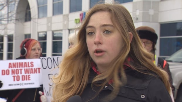 "Remington Latanville organized Saturday's protest, telling CBC News she believes trophy hunting is ""selfish and wrong."""