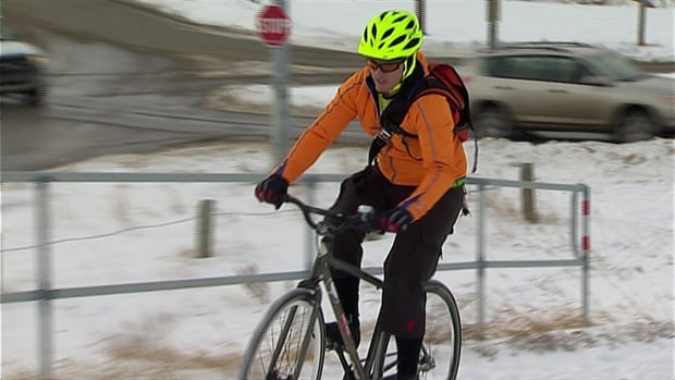 Calgary winter cyclist