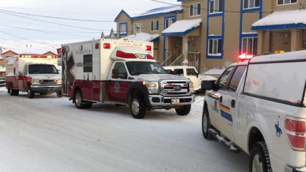 Police and paramedics respond to a hit and run in Iqaluit Sunday morning that left a 7-year-old boy injured.
