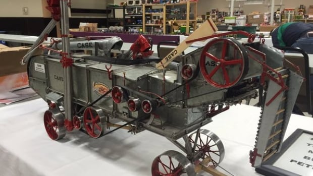 This toy of an old threshing machine was one of many on display at the farm toy show held in Saskatoon.
