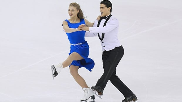 The families of ice dancers Piper Gilles, left, and Paul Poirier have played a major role in their figure skating development.