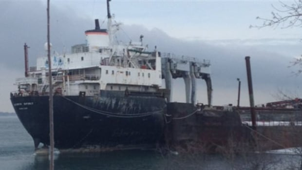 The Kathryn Spirit, a rusty cargo ship in Lake St. Louis, has been abandoned near the town of Beauharnois for over four years.