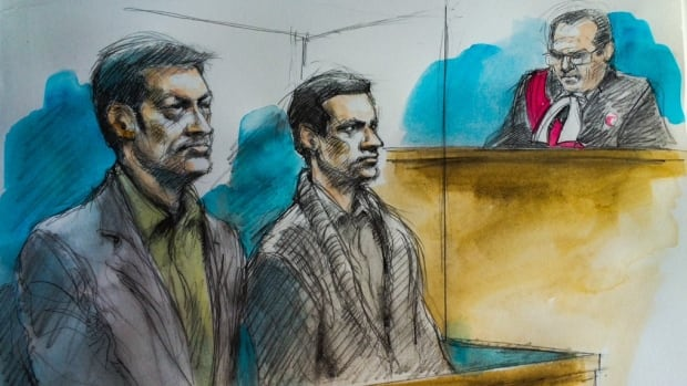 This artist's rendering shows Toronto's Dellen Millard (left), Oakville's Mark Smich (centre) and Justice Andrew Goodman (right) as jury selection began in the Tim Bosma case.