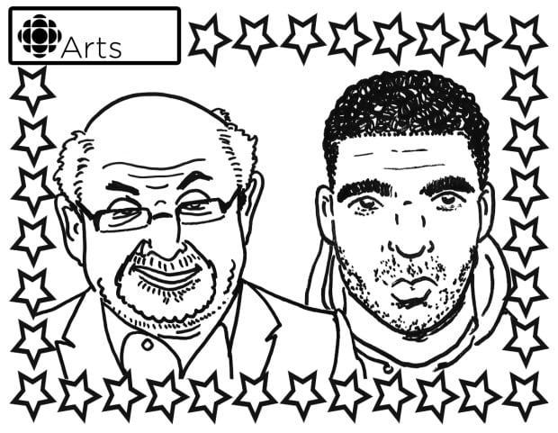 Drake and Salman Rushdie Colouring Page
