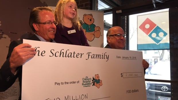 On Monday former Winnipegger and president and CEO of Domino's Pizza of Canada, Michael Schlater, donated $2 million to the Children's Hospital Foundation of Manitoba.