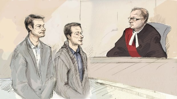 Dellen Millard, left, and Mark Smich appear in court in front of Justice Andrew J. Goodman in Hamilton, Ont., on Jan.18, 2016. Jury selection has begun in Hamilton at the trial of the two men accused in the death of Tim Bosma.