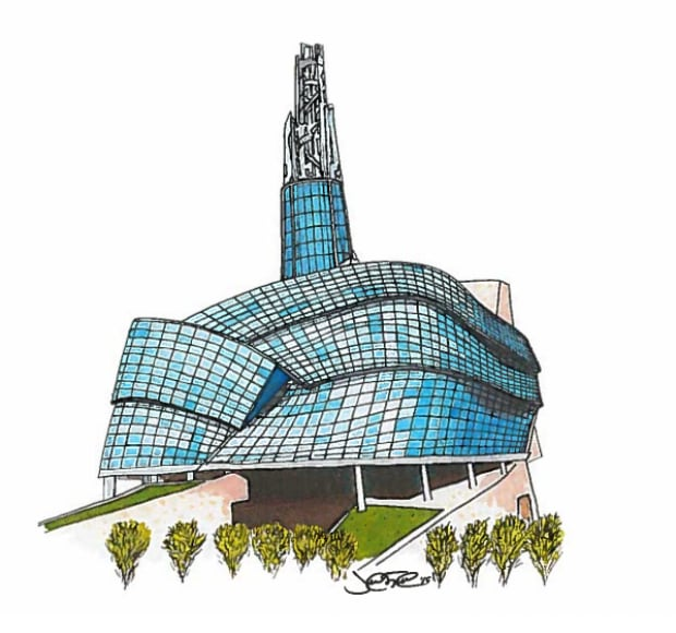 Justin Trudeauu0026#39;s Sketch Of Winnipeg Museum To Be Auctioned Off - Manitoba - CBC News
