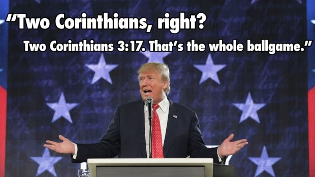 Republican presidential candidate Donald Trump tried to show off his biblical knowledge during a convocation speech at Liberty University on Monday. It didn't go so well.
