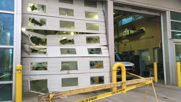 The ambulance bay doors on the east side of Royal Alexandra Hospital were damaged when a patient stole an ambulance Tuesday morning.