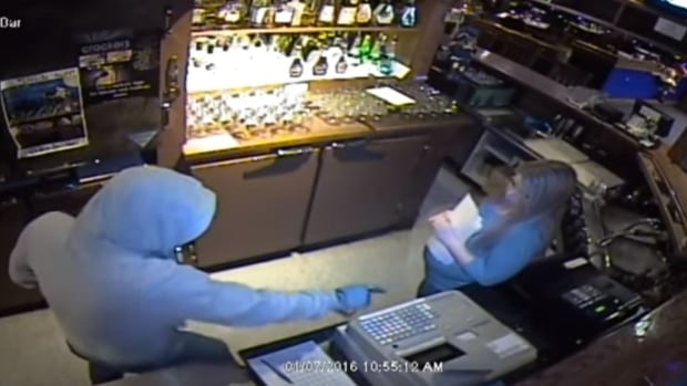 A still of a surveillance video showing a robbery at Crackers on January 7th.