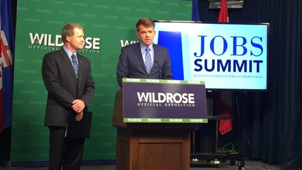 Wildrose Leader Brian Jean (right) and Wildrose jobs critic Grant Hunter announced a plan for a jobs summit on the Alberta economy.