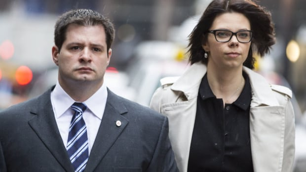 Const. James Forcillo, seen here walking with his wife, has pleaded not guilty to second-degree murder and attempted murder in the death of an 18-year-old.