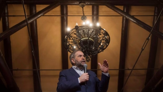 NDP Leader Tom Mulcair speaks to his MPs Tuesday at an NDP caucus retreat in Montebello, Que. to prepare for Parliament's return next week. Mulcair told reporters he's not taking anything for granted as New Democrats review his leadership later this spring.