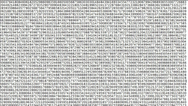 This is just the beginning of the new prime number, which has over 22 million digits, breaking the previous record for largest prime by almost five million digits.