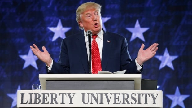 "Republican presidential candidate Donald Trump spoke at Liberty University in Lynchburg, Va., on Monday. He told the students if elected, he will protect Christianity, saying it is ""under siege."""