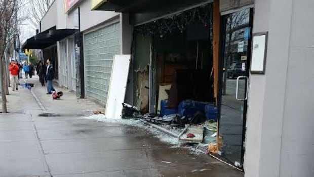 The One Cafe on No. 3 Road in Richmond sustained significant damage when a car drove into it Wednesday morning.
