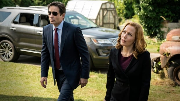 David Duchovny, left, reprises his role as Fox Mulder while Gillian Anderson returns as Dana Scully in the rebooted series The X-Files.