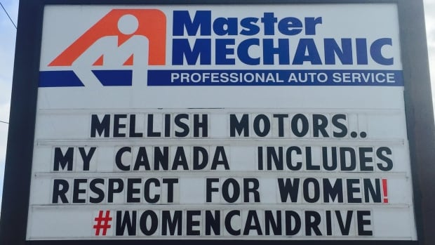 Toronto auto shop owner Josie Candito posted this sign in reaction to a business billboard that disparaged women drivers.