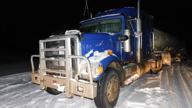 RCMP said this tanker truck was used to steal oil from several energy sites in Alberta and Saskatchewan in recent months.