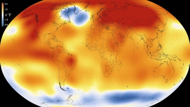 Data released by NASA shows most of the planet set record-high temperatures in 2015, but not a hard-to-miss blue blob in the North Atlantic.