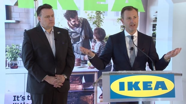 Halifax Mayor Mike Savage, left, and Ikea Canada president Stefan Sjostrand speak about the new Ikea store slated to open in Dartmouth Crossing in 2017.