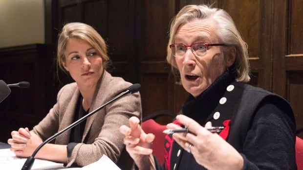 Canadian Minister of Indigenous and Northern Affairs Carolyn Bennett, right, met aboriginal leaders on Thursday in Quebec City. Heritage Minister Mélanie Joly looks on.