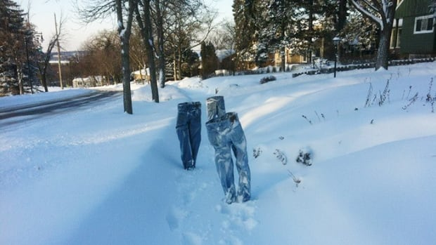 Tom Grotting has some winter fun by freezing pants and staging them throughout Minneapolis.