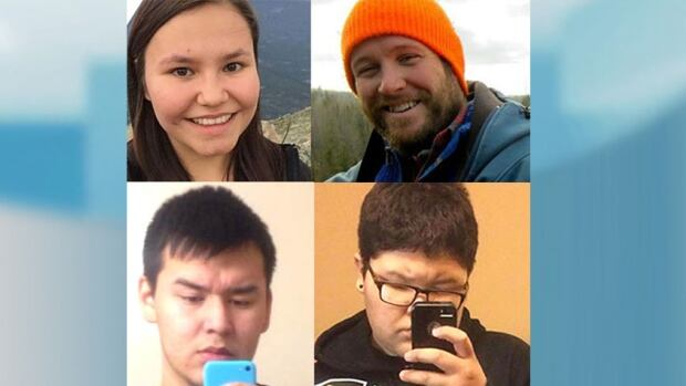 Four people were killed by an alleged teenaged shooter Friday in La Loche: (Clockwise from top left): Marie Janvier, 21; Adam Wood, 35; Drayden Fontaine, 13; and Dayne Fontaine, 17.