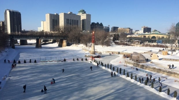Winnipeggers took advantage of the mild temperatures Saturday at The Forks. It's the first weekend skating has been opened on the river path this winter.
