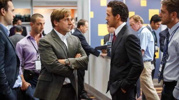 The Big Short took home the top prize at the Producers Guild Awards. This scene from the film shows, Rafe Spall, from left, Jeremy Strong, Steve Carell, Ryan Gosling and Jeffry Griffin.
