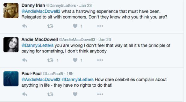 tweets screen grab Andie MacDowell