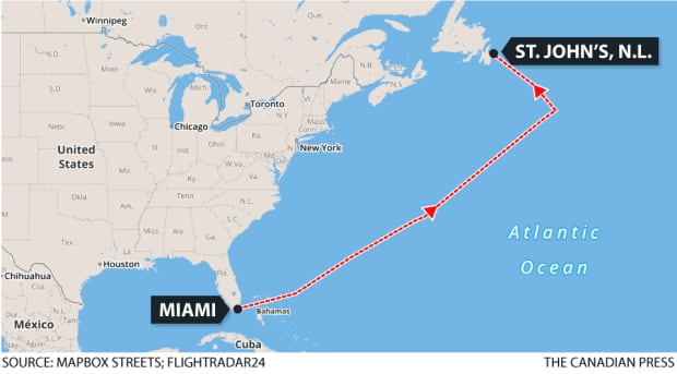 American Airlines Flight 206 map from Miami to St. John's