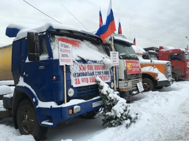 Truckers protest Moscow