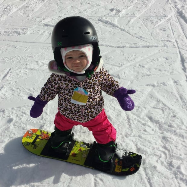Nya, one-year-old snowboarder