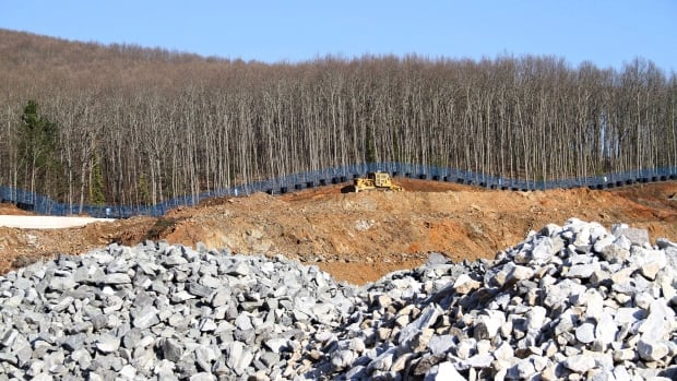 A bulldozer works at the site of a gold mine in Skouries village, northern Greece. Canadian mining company Eldorado Gold suspended work at the site and laid off 600 workers in January.