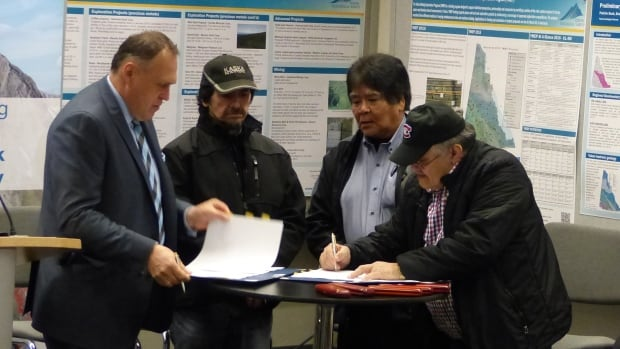 Yukon Premier Darrell Pasloski, Liard First Nation chief Daniel Morris, Ross River Dena Council chief Jack Caesar, and Kaska Dena Council chairperson George Miller signed the framework agreement on Monday in Vancouver.