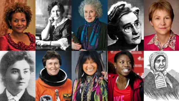 Top row: Michaëlle Jean, Nellie McClung, Margaret Atwood, Agnes Macphail, Cindy Blackstock. Bottom Row: Emily Carr, Roberta Bondar, Buffy Sainte-Marie, Perdita Felicien, Laura Secord.