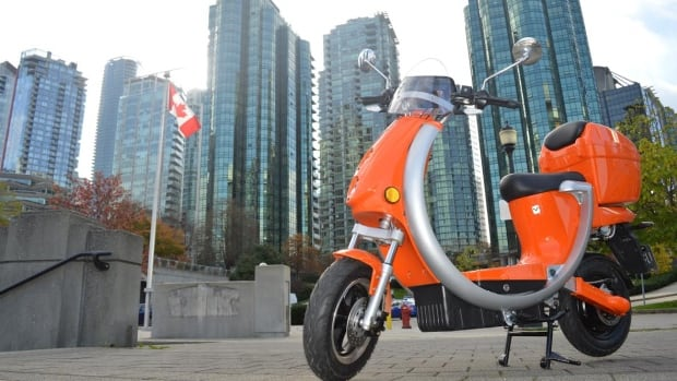 One of the electric scooters that will soon be available for a scooter sharing service in Vancouver, according to a company that plans to launch the service this summer.