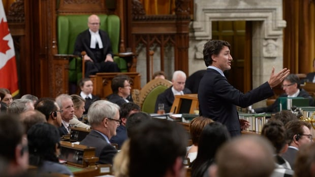 Prime Minister Justin Trudeau answers a question during Question Period in the House of Commons on Parliament Hill in Ottawa, on Monday, Jan.25, 2015.