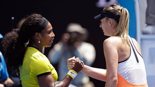 Serena Williams, left, is congratulated by Maria Sharapova after winning their quarter-final match at the Australian Open in Melbourne on Tuesday.