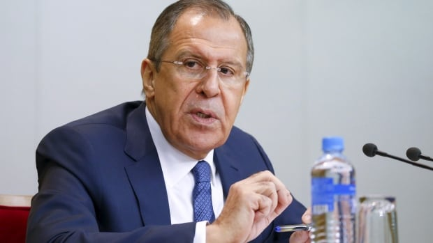 Russian Foreign Minister Sergei Lavrov speaks during a wide-ranging news conference in Moscow on Tuesday.