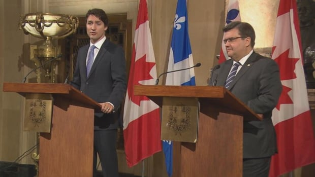Prime Minister Justin Trudeau and Montreal Mayor Denis Coderre met briefly Tuesday morning while anti-pipeline demonstrators staged a protest outside City Hall.