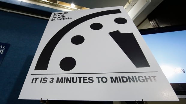 The Bulletin of the Atomic Scientists announced Tuesday that the minute hand on the metaphorical clock remained at three minutes-to-midnight. The clock reflects how vulnerable the world is to catastrophe from nuclear weapons, climate change and new technologies, with midnight symbolizing apocalypse.